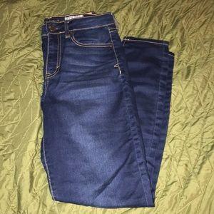 Blue skinny high waisted aeropostale jeans